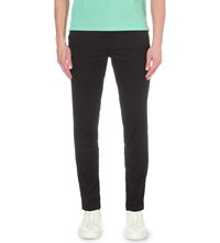 Hugo Boss Slim Fit Tapered Stretch Cotton Trousers Black