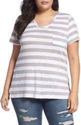 Caslonr Plus Size Women's Caslon Rounded V Neck Tee Grey Sconce Wide Stp