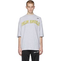 Palm Angels Grey New College Logo Over T Shirt