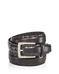 John Varvatos Star Usa Feather Edge Belt With Pick Stitch Detail Black