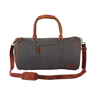Mahi Leather Classic Duffle Overnight Gym Bag In Grey Canvas