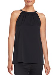 Diane Von Furstenberg Pania Sleeveless Silk Blend Halter Top Black