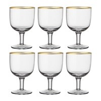 Bitossi Gold Rim Water Glasses Set Of 6 Clear