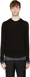 Maison Margiela Black Rib And Mesh Knit Sweater