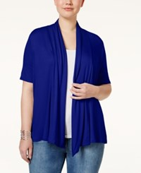 Ing Trendy Plus Size Short Sleeve Open Front Cardigan Sapphire