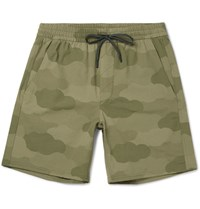 A.P.C. Outdoor Voices Wide Leg Camouflage Print Ripstop Shorts Green