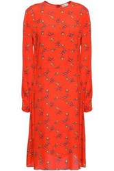 By Malene Birger Woman Flared Crepe De Chine Dress Tomato Red
