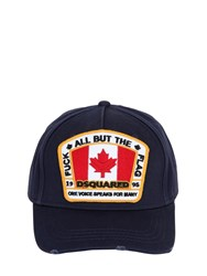 Dsquared Distressed Logo Patch Canvas Hat