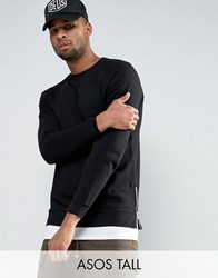 Asos Tall Longline Sweatshirt With Side Zips Black