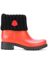 Moncler Ginette Boots Leather Wool Rubber Red