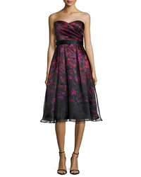 Aidan Mattox Strapless Printed Tea Length Cocktail Dress