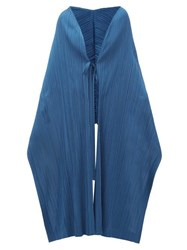 Issey Miyake Pleats Please Tech Pleated Scarf Cape Blue