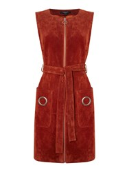 Therapy Harper Suede Zip Dress Burnt Orange