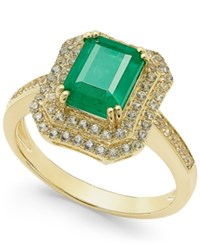 Macy's Emerald 1 1 2 Ct. T.W. And White Sapphire 1 Ct. T.W. Rectangular Statement Ring 14K Gold Green
