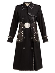Burberry Stud Embellished Cotton Gabardine Trench Coat Black