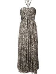 Zimmermann Leopard Print Midi Dress Brown