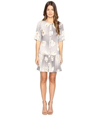 Boutique Moschino Silk Floral Button Up Dress Gray