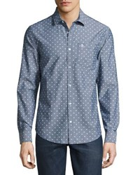 Original Penguin Long Sleeve Oxford Diamond Print Shirt Dark Blue
