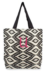 Cathy's Concepts Personalized Ikat Jute Tote Grey Black