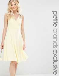 Tfnc Petite Prom Midi Dress With Embellished Shoulders Soft Yellow
