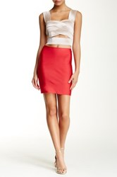 Wow Couture Solid Bodycon Mini Skirt Red