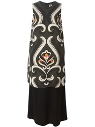 I'm Isola Marras Isola Marras Printed Top Layered Dress Black