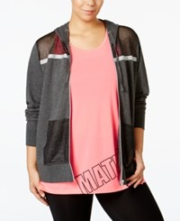 Material Girl Active Plus Size Mesh Trim Hoodie Only At Macy's Charcoal