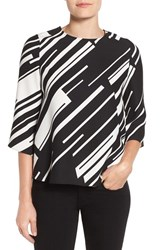 Vince Camuto Women's 'Graphic Wave' Print Three Quarter Sleeve Blouse Rich Black