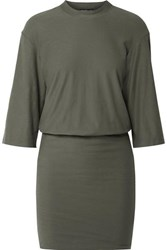 James Perse Stretch Cotton Jersey Mini Dress Army Green