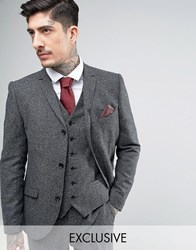 Heart And Dagger Skinny Blazer In Herringbone Tweed Charcoal Grey
