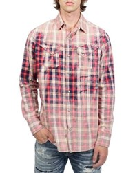Cult Of Individuality Clint Cotton Button Down Shirt Red Plaid