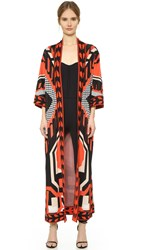Temperley London Long Brooke Cardigan Mandarin Red Mix