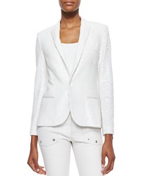 Zadig And Voltaire Sequined Snap Front Blazer White