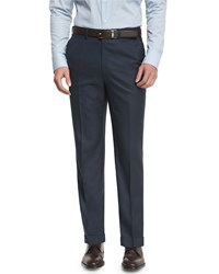 Brioni Phi Flat Front Twill Trousers Navy Men's