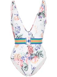Zimmermann Allia Floral Print Swimsuit White