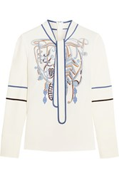 Peter Pilotto Pussy Bow Embroidered Stretch Crepe Blouse White