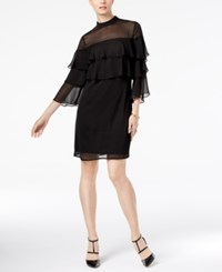 Ny Collection Tiered Ruffled Dress Black