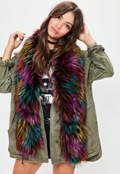 Missguided Faux Fur Multicoloured Scarf