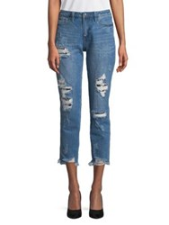 Buffalo David Bitton Sequined Distressing Girlfriend Ankle Jeans Dayglow