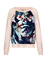 Yumi Jumper With Bird Print Pastel Pink