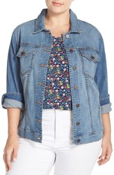Plus Size Women's Kut From The Kloth 'Helena' Distressed Denim Jacket
