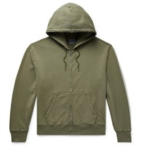 J.Crew Garment Dyed Loopback Cotton Jersey Zip Up Hoodie Green