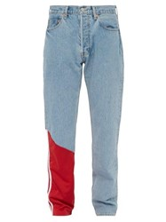 Vetements X Levi's Nylon Panel Straight Leg Jeans Blue