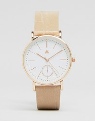 Asos Large Clean Dial Watch With Faux Crocodile Strap Nude Cream