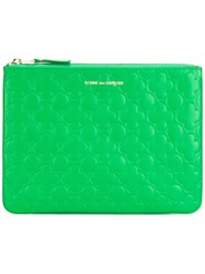 Comme Des Garcons Embossed Zipped Clutch Green