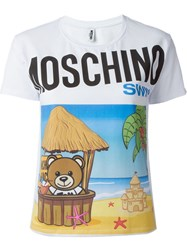 Moschino Swim Beach Teddy T Shirt White