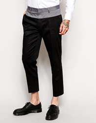 Asos Skinny Fit Smart Trousers In Cotton Sateen Black