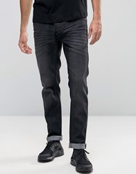 Solid Jeans In Slim Fit Washed Black Denim With Stretch Washed Black