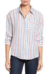Vince Camuto Women's Two By Sporty Stripe Linen Utility Shirt