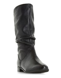 Dune Rosalind Leather Mid Calf Boots Black
